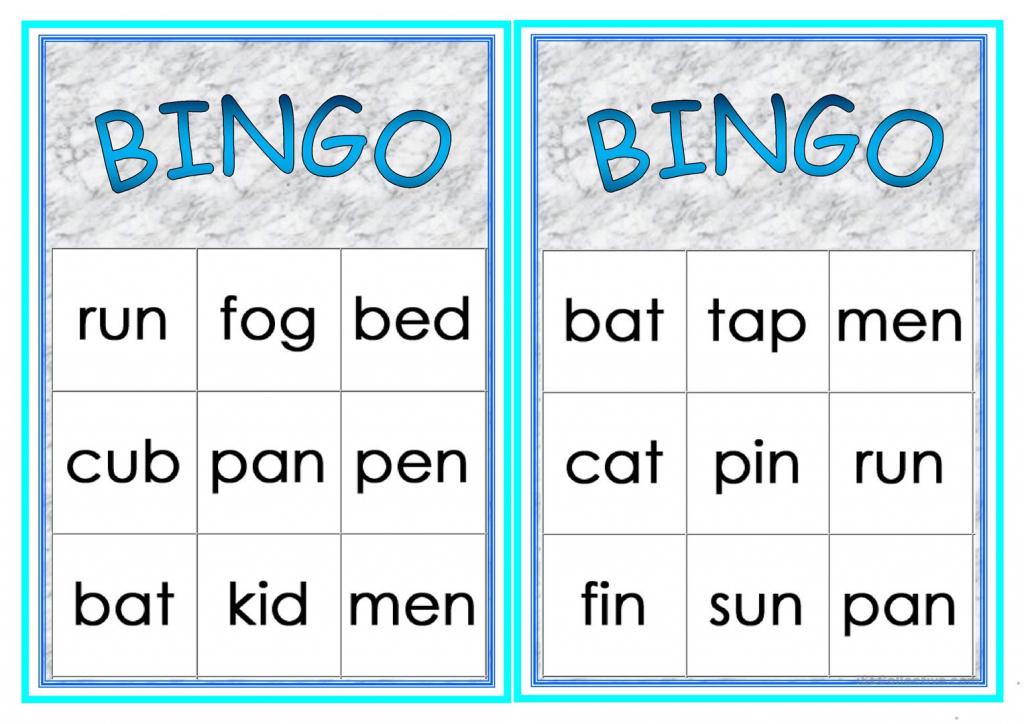 Cvc Words Bingo Worksheet - Free Esl Printable Worksheets Made | Printable Cvc Word Cards