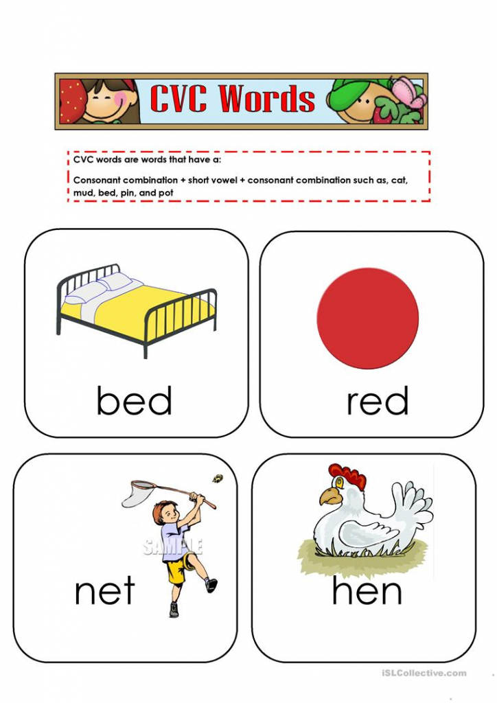 Cvc Words Flashcards Worksheet - Free Esl Printable Worksheets Made   Cvc Picture Cards Printable
