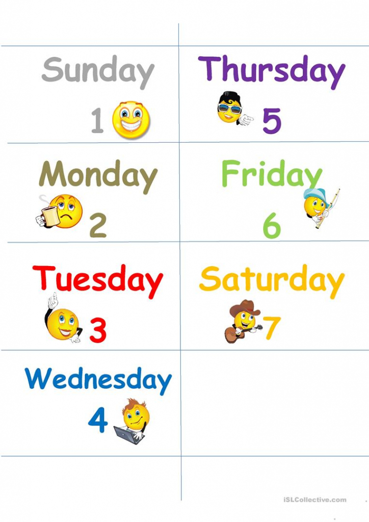 Days Of The Week Flash Cards Worksheet - Free Esl Printable   Free Printable Days Of The Week Cards