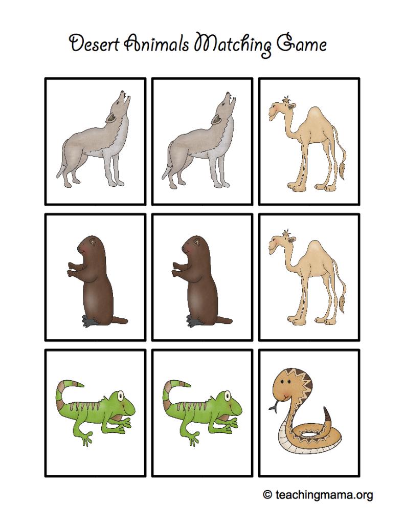 Desert Animal Printables - Teaching Mama   Animal Matching Cards Printable