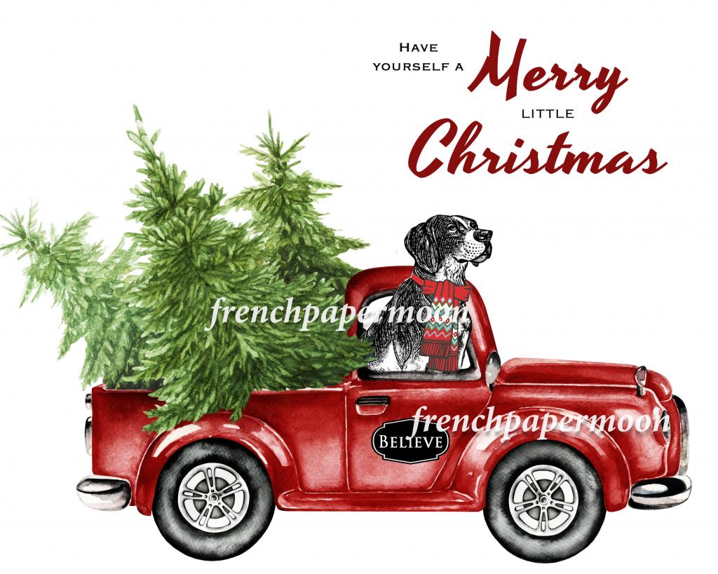 Digital Christmas Dog, Doggie Xmas, Red Pickup Truck, Pillow Image   Christmas Cards For Dogs Printable