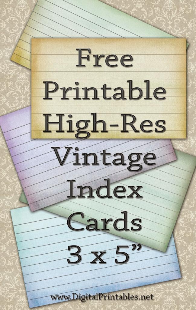 Digital Printables: Free Printable Index Cards Vintage Look High Res   Printable Index Cards 3X5