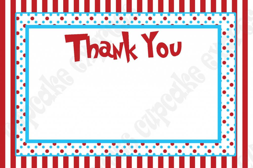Diy Dr. Seuss Inspired Birthday Party Printable Thank You Card 4X6 | Printable Dr Seuss Thank You Cards