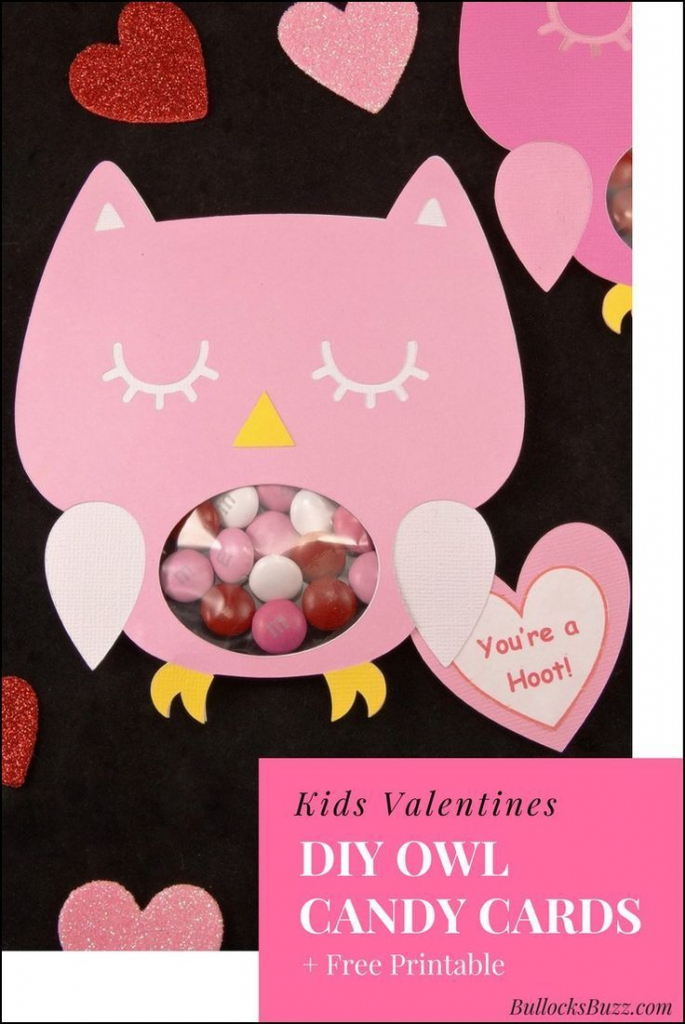 Diy Owl Valentines Candy Cards + Free Printable! | Valentine's Day | Free Printable Owl Valentine Cards