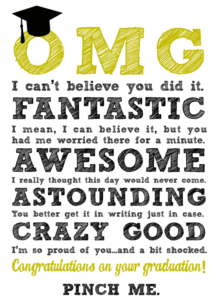 Diy Printable Graduation Cards–'omg' & 'be Awesome' | Graduation Cards Free Printable Funny
