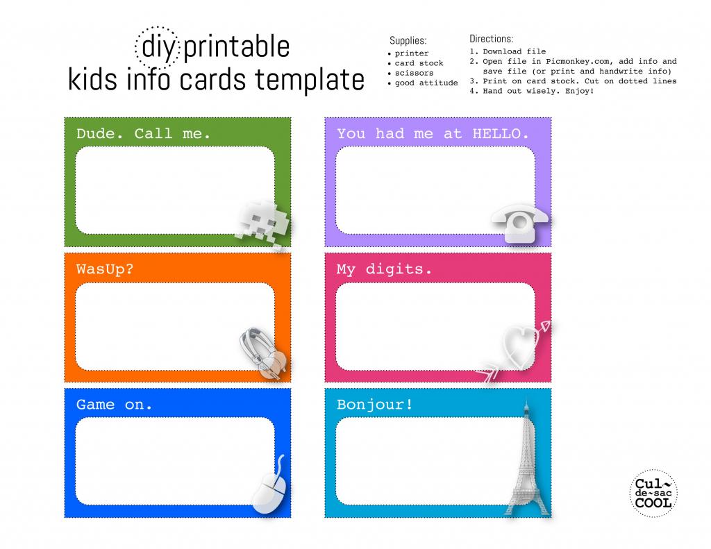 Diy Printable Kids Info Cards Template | Printable Emergency Card Template