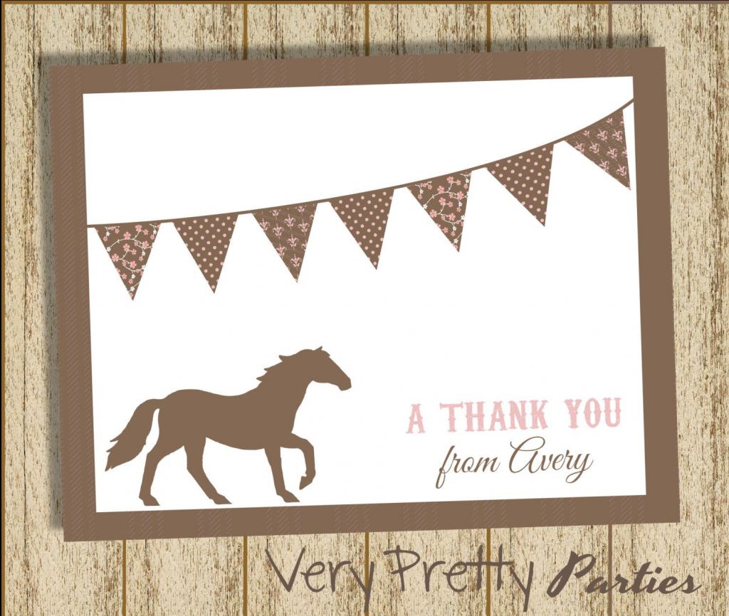 Diy Printable Pony Party - Thank You Cards - Vintage Style, Shabby | Horse Thank You Cards Printable