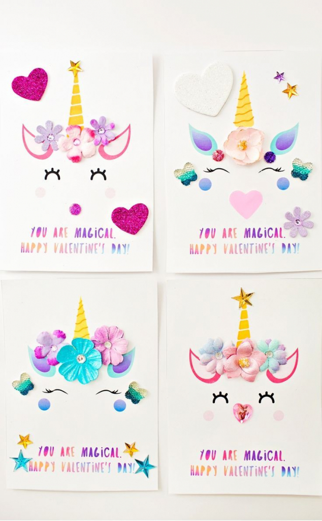 Diy Unicorn Valentine Cards   Roses Are Red, Violets Are Blue   Valentine's Day Card Printable Templates