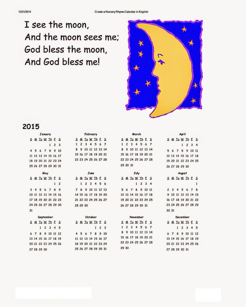 Dltk Kids Calendars | Calendar Template Printable | Kids Calendar | Dltk Printable Bingo Cards