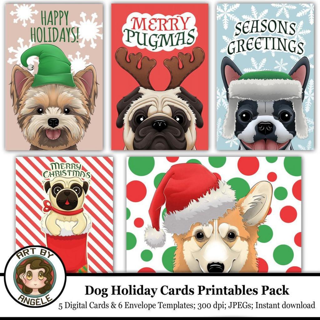 Dog Christmas Printable Cards Set Of 5 Printable Envelope   Etsy   Christmas Cards For Dogs Printable