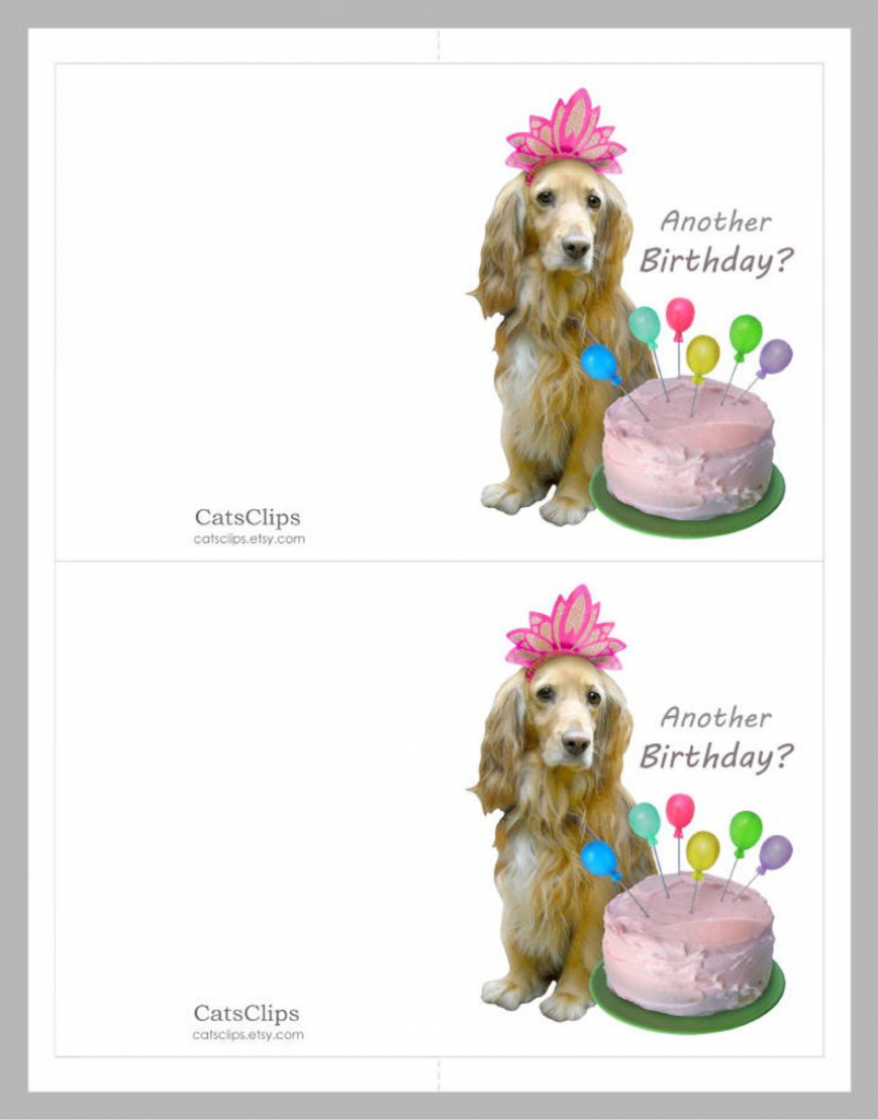Dog With Balloon Cake Printable Birthday Card Digital Dog | Etsy | Printable Dog Birthday Cards