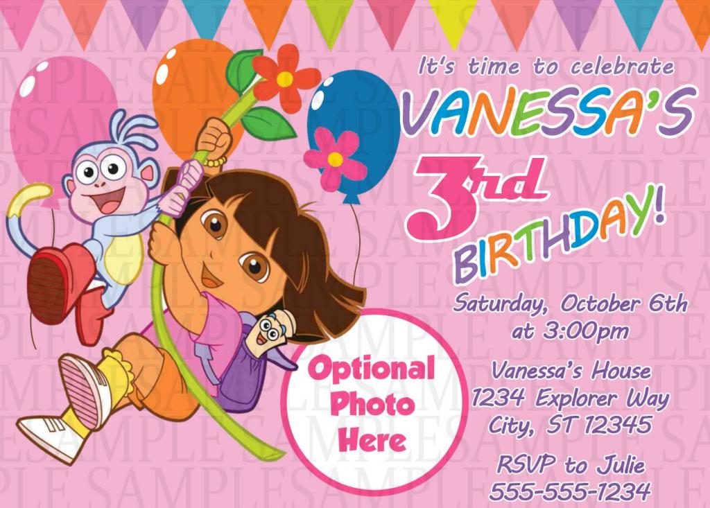 Dora The Explorer Birthday Invitation $11 | Kids Birthday | Dora Birthday Cards Free Printable