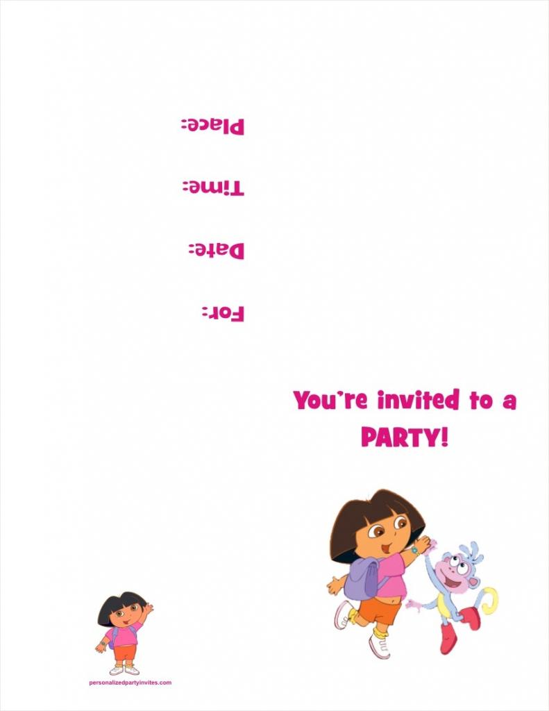 Dora The Explorer Free Printable Birthday Party Invitation   Free Printable Personalized Birthday Invitation Cards