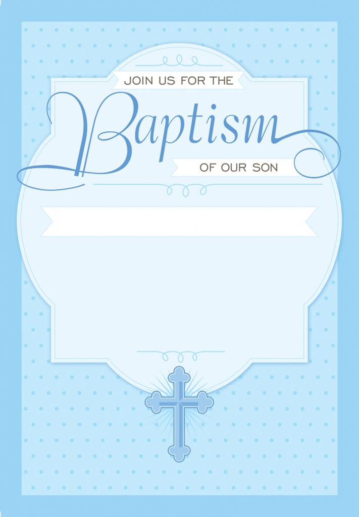 Dotted Blue - Free Printable Baptism & Christening Invitation | Printable Baptism Christening Cards