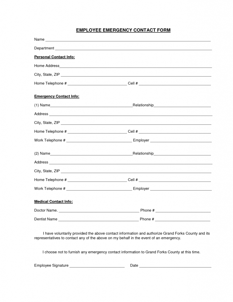 Download A Free Emergency Contact Form And Emergency Card Template | Printable Emergency Card Template