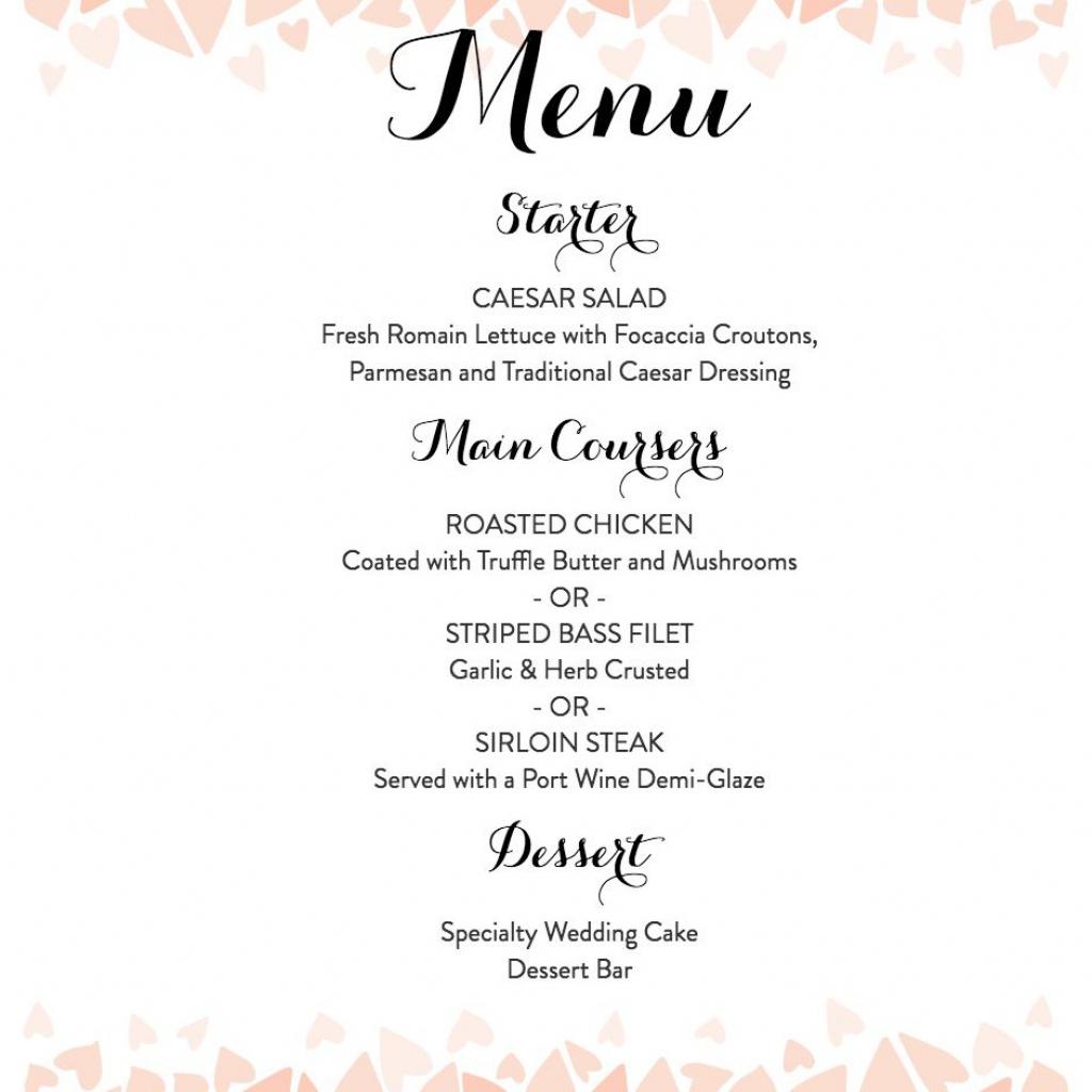 Download A Free Wedding Menu Template | Free Printable Wedding Menu Card Templates