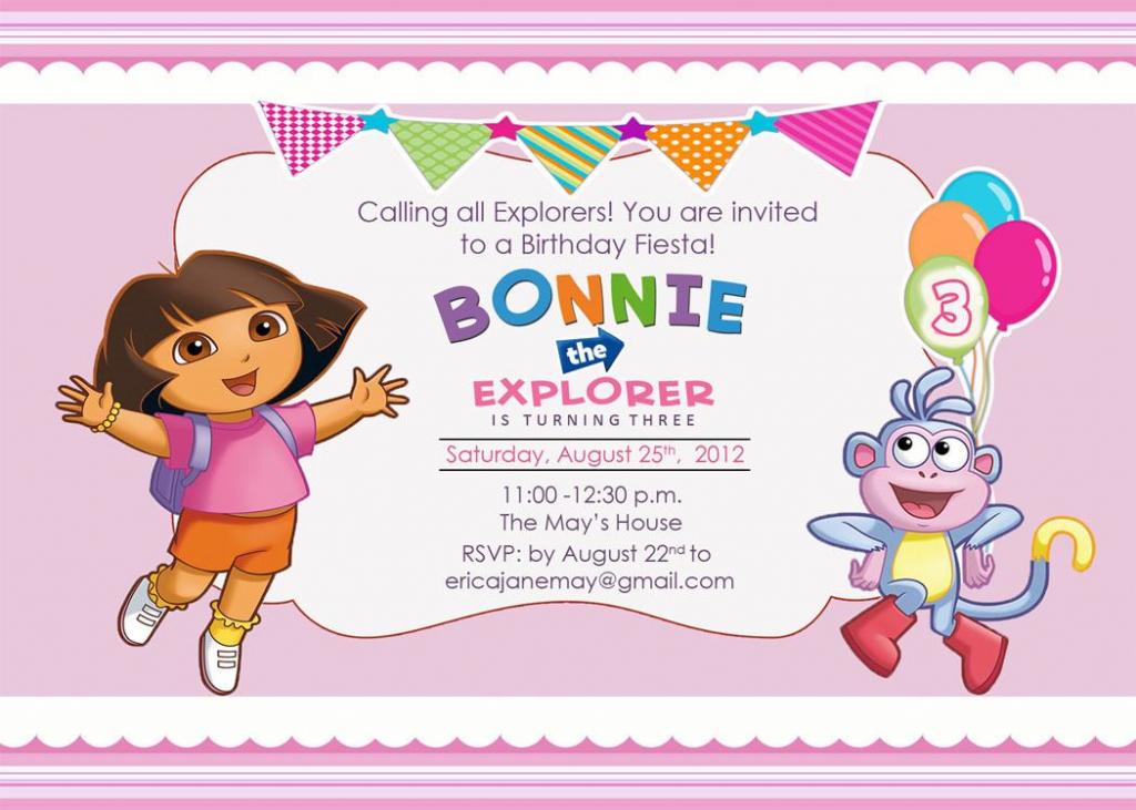 Download Free Template Dora The Explorer Birthday Party Invitations | Dora Birthday Cards Free Printable