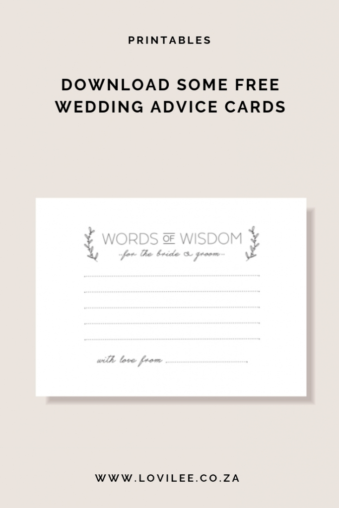 Download Your Free Wedding Advice Cards Printable | Lovilee Blog | Free Printable Bridal Shower Advice Cards
