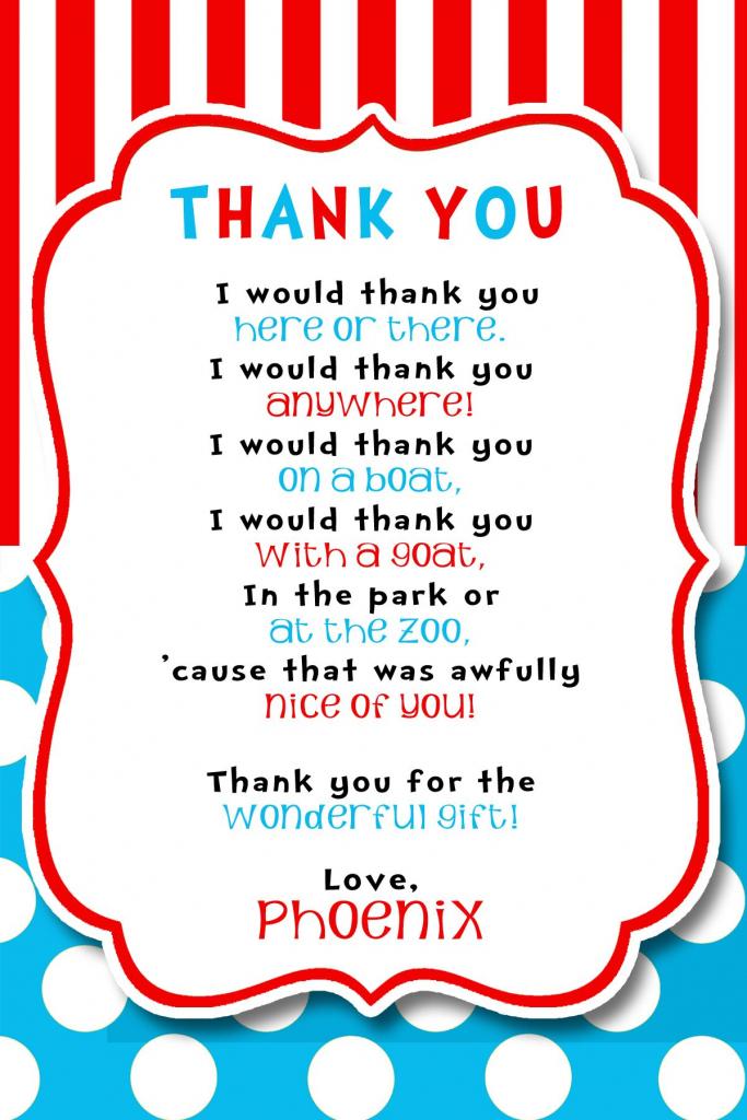 Dr Seuss Party Thank You! | Phoenix's Dr Seuss Birthday Party! | Dr | Printable Dr Seuss Thank You Cards