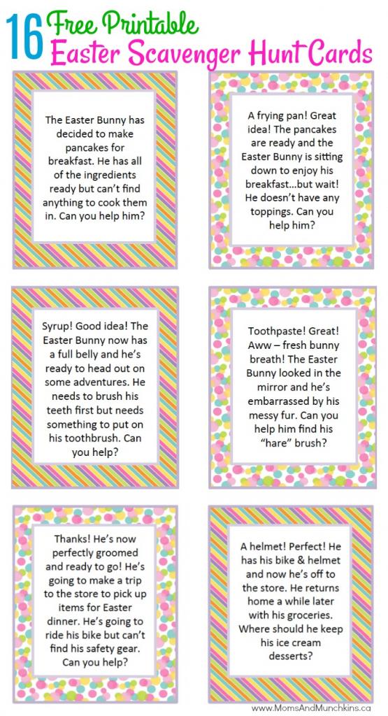 Easter Scavenger Hunt Ideas - Moms & Munchkins | Treasure Hunt Printable Clue Cards