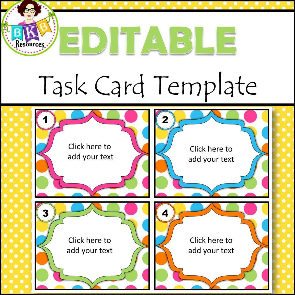 Editable Task Card Templates - Bkb Resources | Free Printable Blank Task Cards