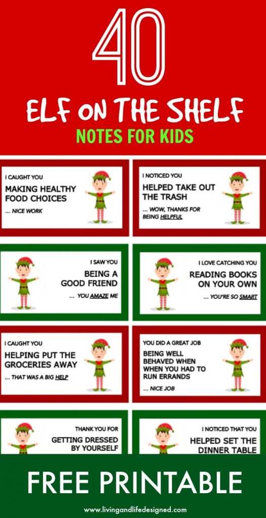 Elf On The Shelf Printable Notecards With A Positive Message | Elf On The Shelf Printable Note Cards