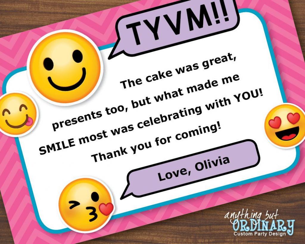 Emoji Thank You Note, Printable Girl's Emoji Flat Thank You Card   Printable Emoji Thank You Cards