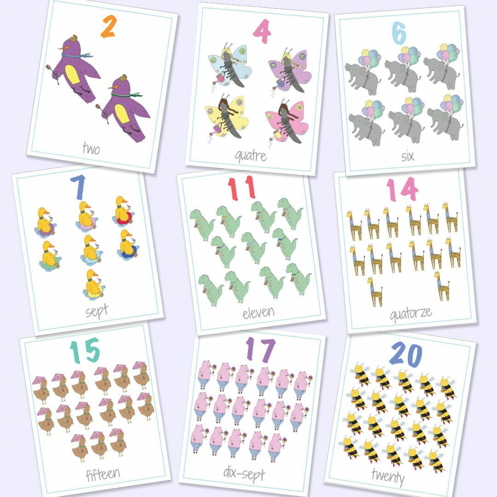 English French Bilingual Numbers Flash Cards 1-20 Printable | Etsy | Printable Number Cards 1 20