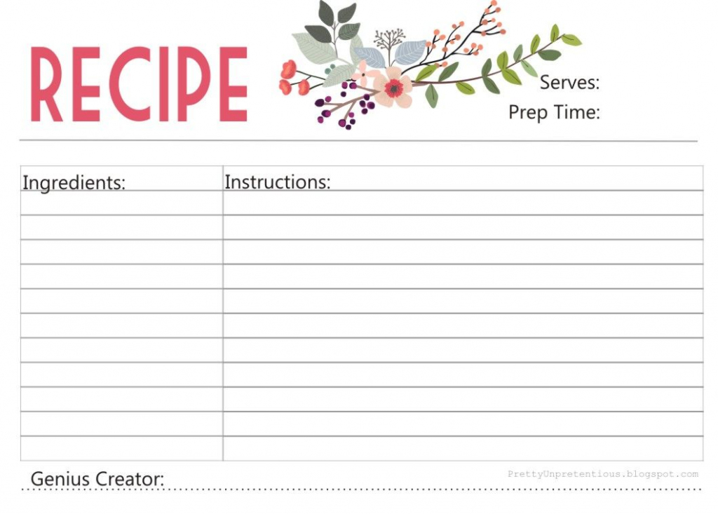 Enjoy A Free Printable Recipe Card Designed ,with Love,yours   Free Printable Photo Cards 4X6