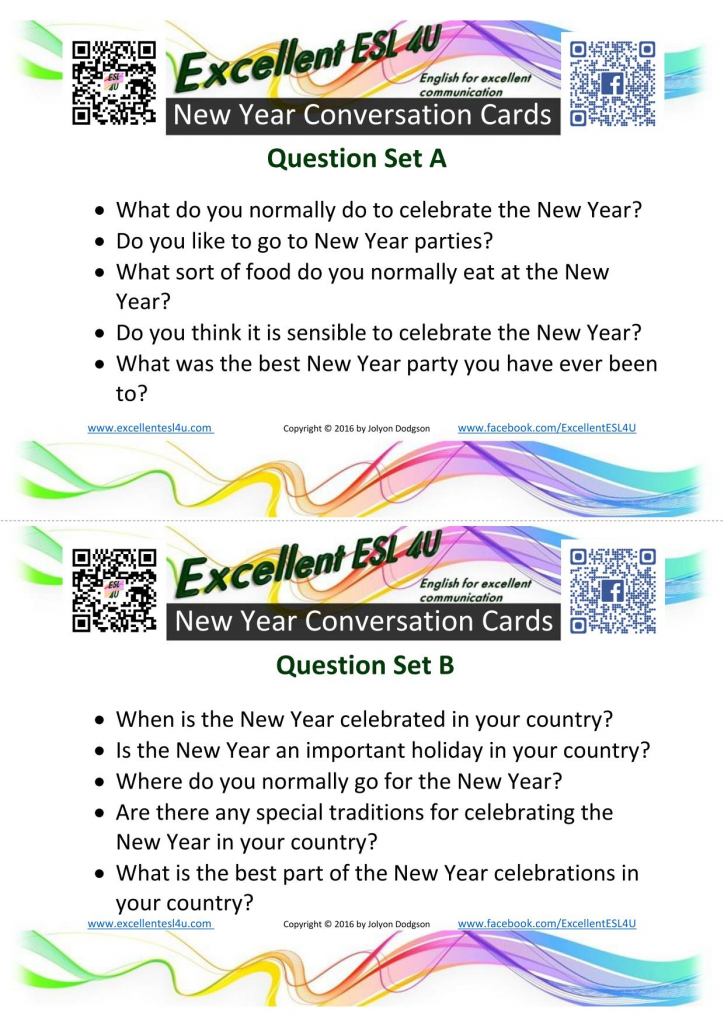 Esl Conversation Cards | Printable Conversation Cards For Adults