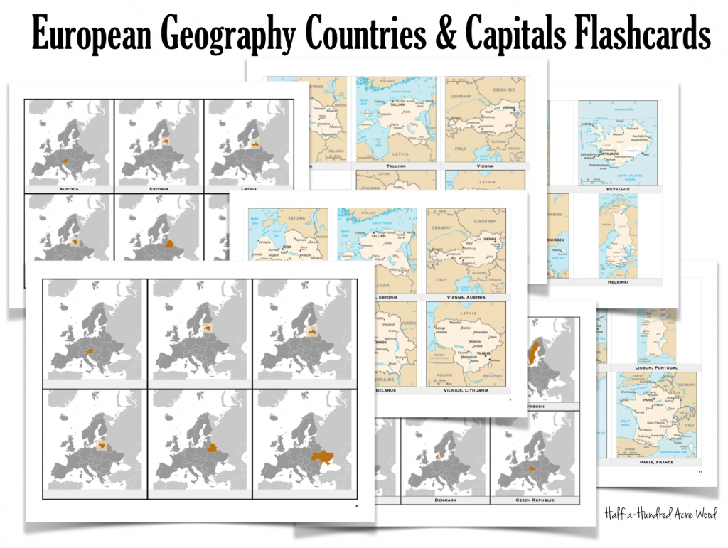 European Countries & Capitals Flashcards   Half-A-Hundred Acre Wood   States And Capitals Flash Cards Printable