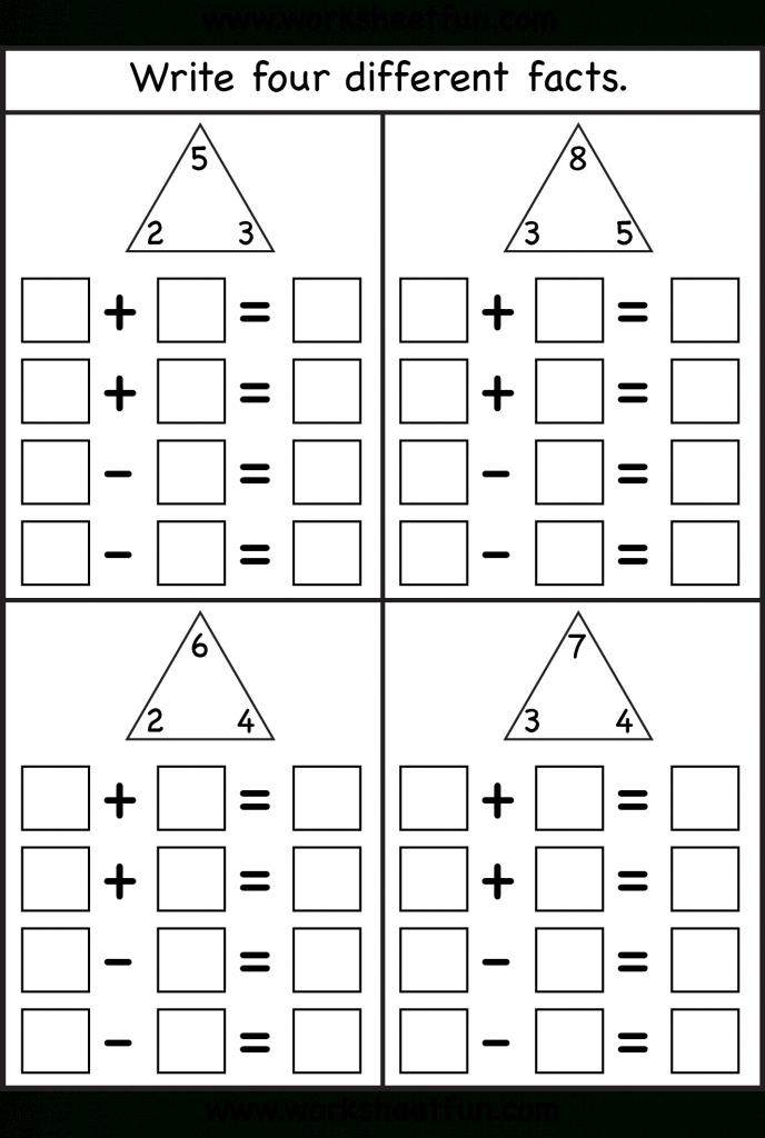 Fact Family - 4 Worksheets   Printable Worksheets   Math, Math   Triangle Flash Cards Addition And Subtraction Printable