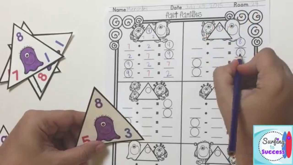 Fact Family Monsters - Youtube   Triangle Flash Cards Addition And Subtraction Printable