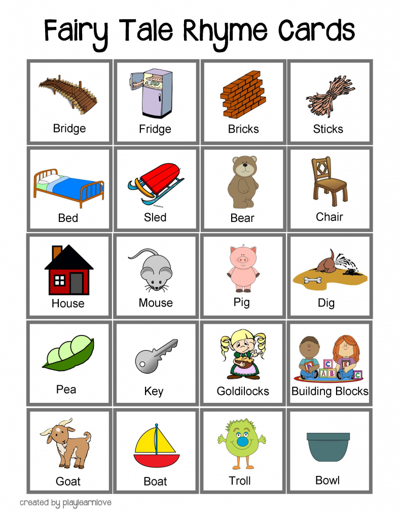 Fairy Tale Rhyme Cards: Toddler And Preschooler Rhyming Game With   Rhyming Picture Cards Printable