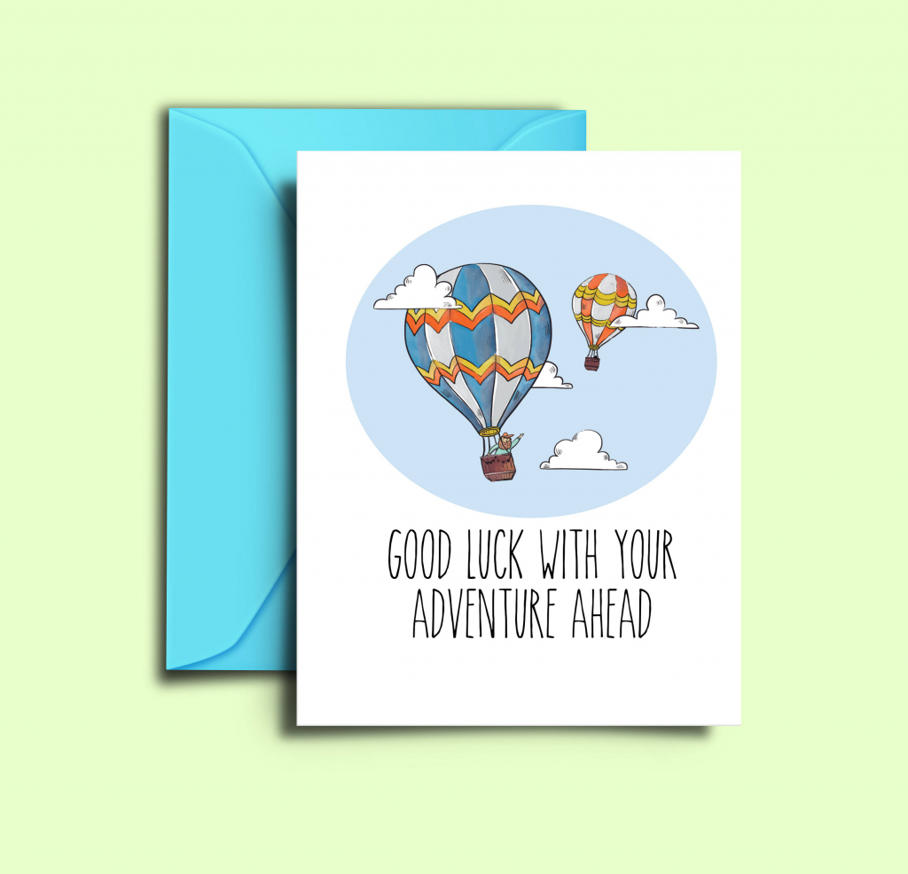 Farewell Card For Friends Hot Air Balloon Printable Good Luck | Etsy | Going Away Card Printable
