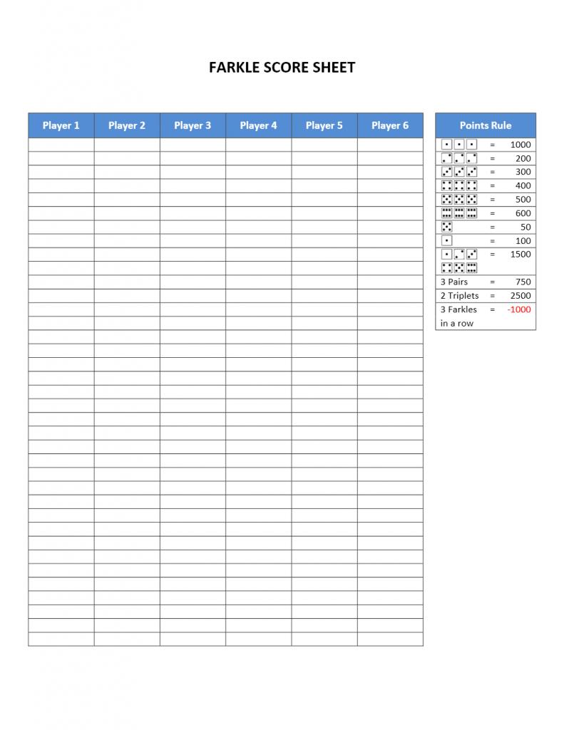 Farkle Score Sheet | Farkle Score Card Printable