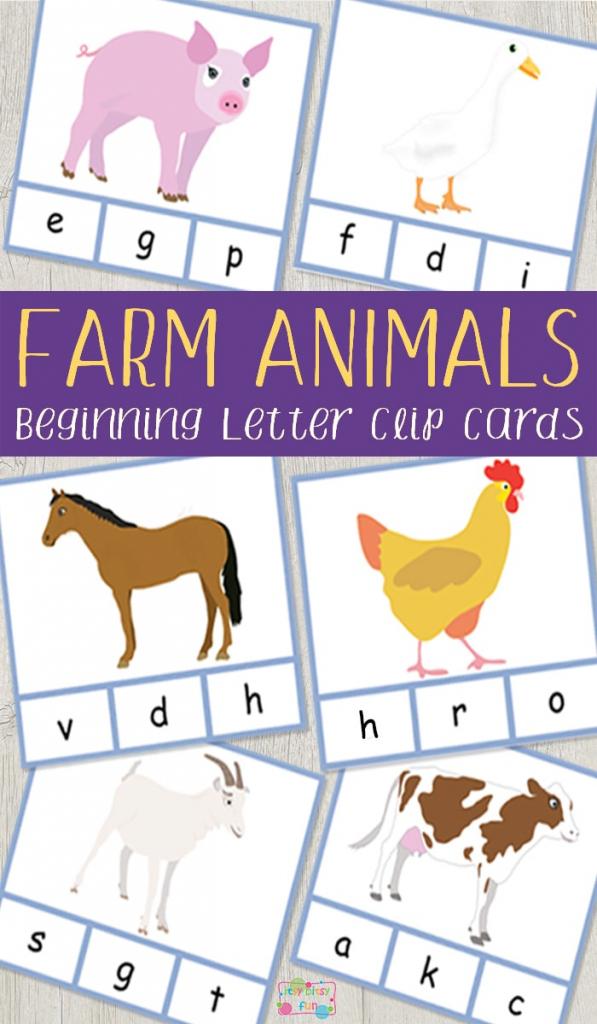 Farm Animals Beginning Letter Clip Cards - Itsy Bitsy Fun | Farm Animal Cards Printable