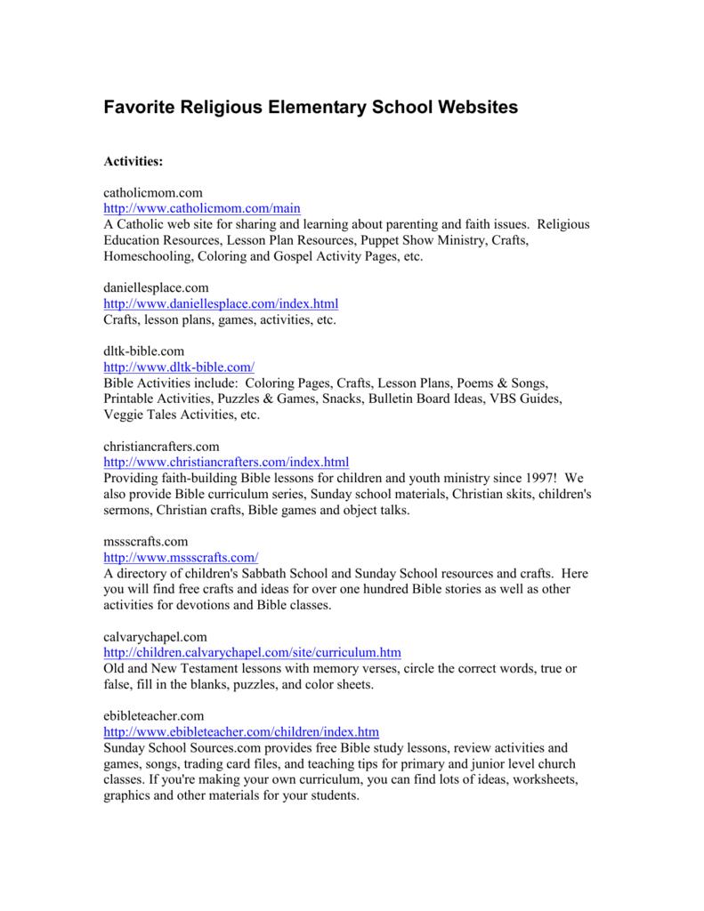 Favorite Religious Elementary School Websites | Dltk Printable Bingo Cards