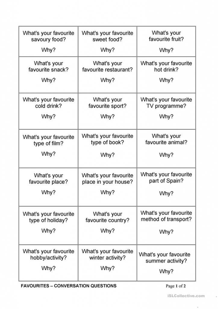 Favourites Conversation Cards Worksheet - Free Esl Printable | Printable Conversation Cards For Adults