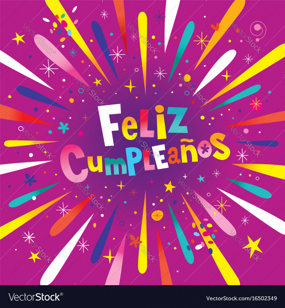 Feliz Cumpleanos Happy Birthday In Spanish Card Vector Image | Happy Birthday In Spanish Card Printable