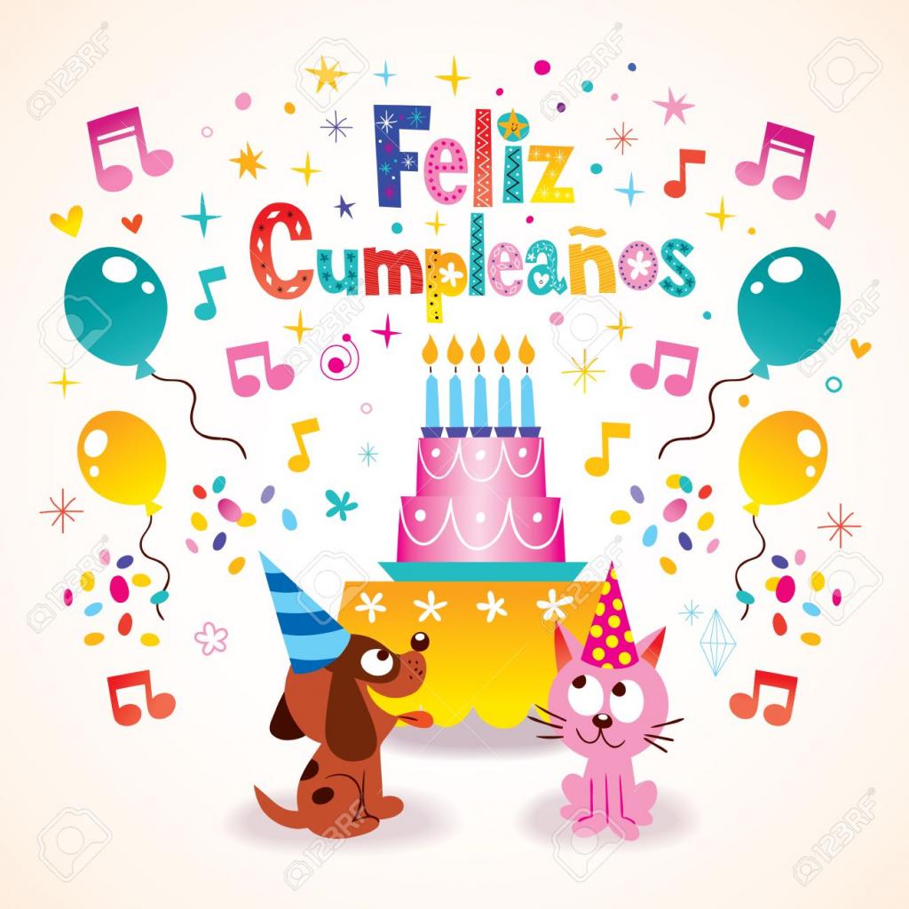 Feliz Cumpleanos - Happy Birthday In Spanish Greeting Card Royalty | Free Printable Happy Birthday Cards In Spanish