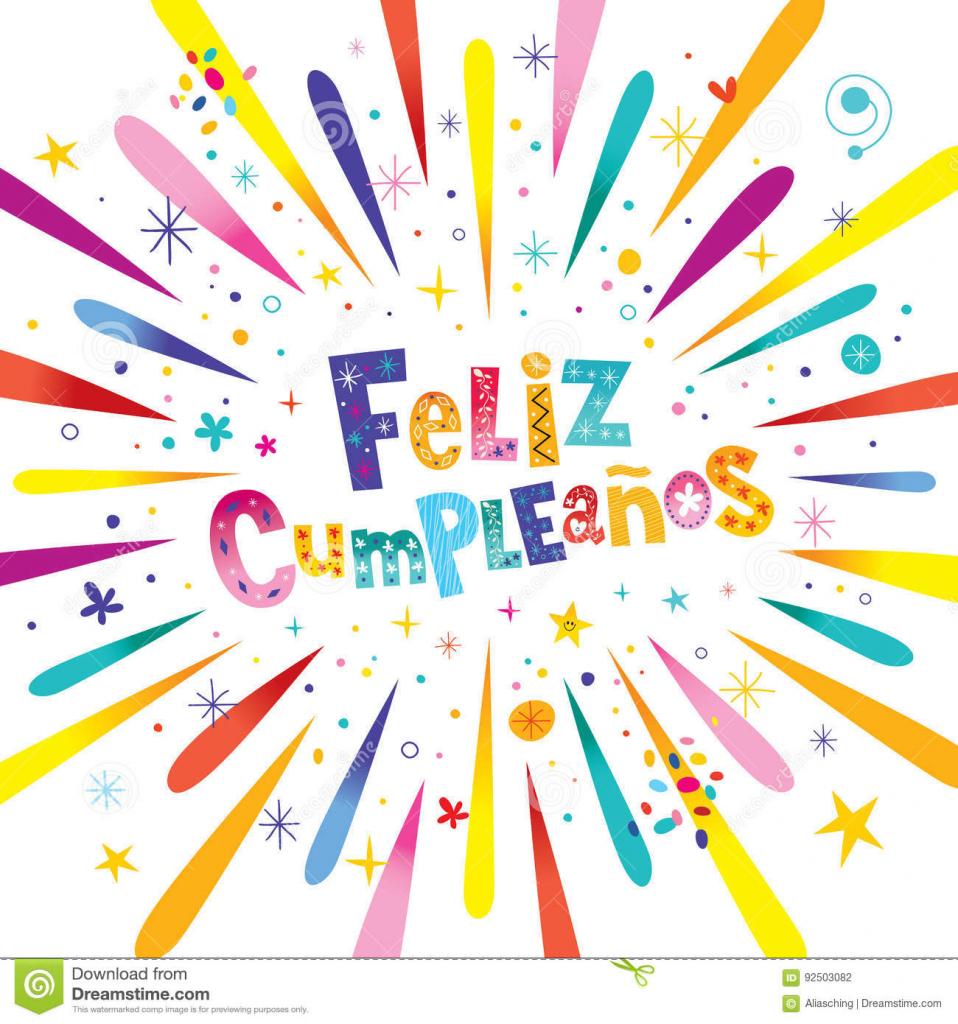 Feliz Cumpleanos Happy Birthday In Spanish Stock Vector | Happy Birthday In Spanish Card Printable