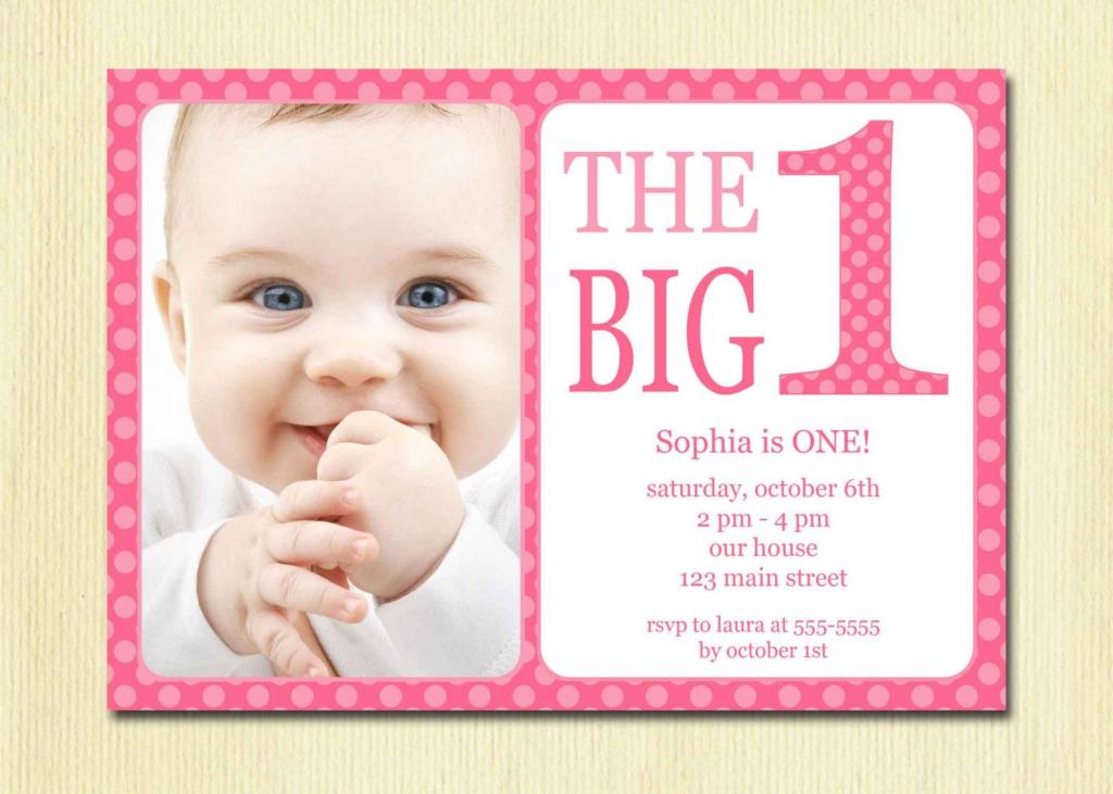 First Birthday Baby Girl Invitation - Diy Photo Printable Custom | Printable 1 Year Old Birthday Card
