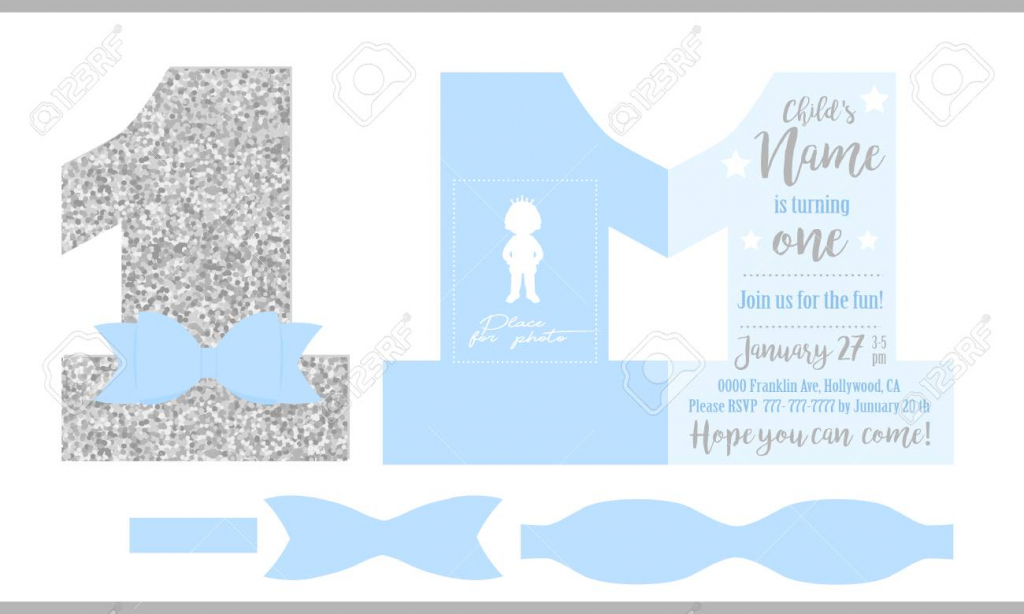 First Birthday Boy's Party. Printable Invitation Card For Little   Printable Invitation Card Stock