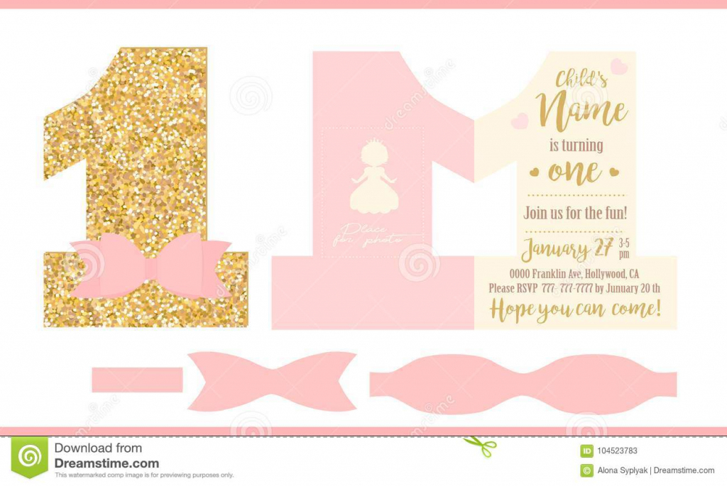 First Birthday Girl Party. Printable Invitation Card For Little   Printable Invitation Card Stock