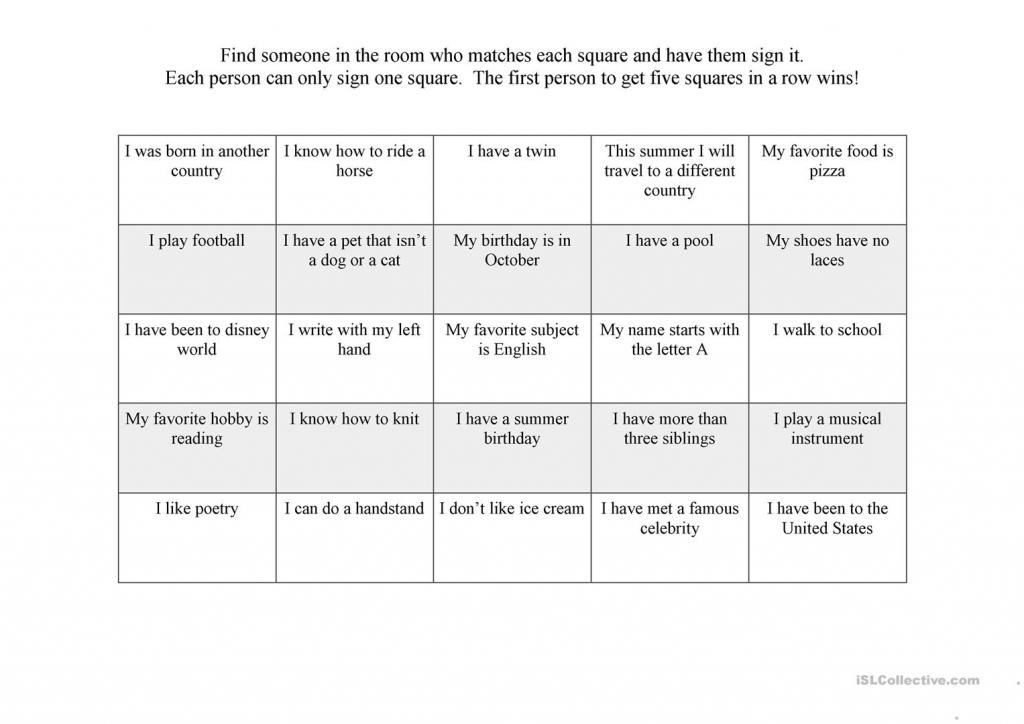 First Day Ice Breaker Bingo Worksheet - Free Esl Printable | Printable Icebreaker Bingo Cards