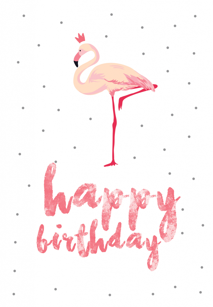 Flamingo Birthday - Free Printable Birthday Card   Greetings Island   Happy Birthday From All Of Us Printable Cards