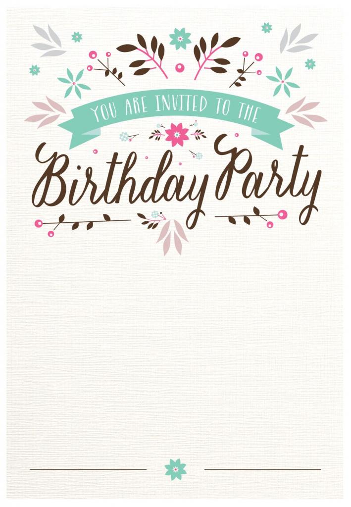 Flat Floral - Free Printable Birthday Invitation Template | Printable Birthday Invitation Cards For Adults