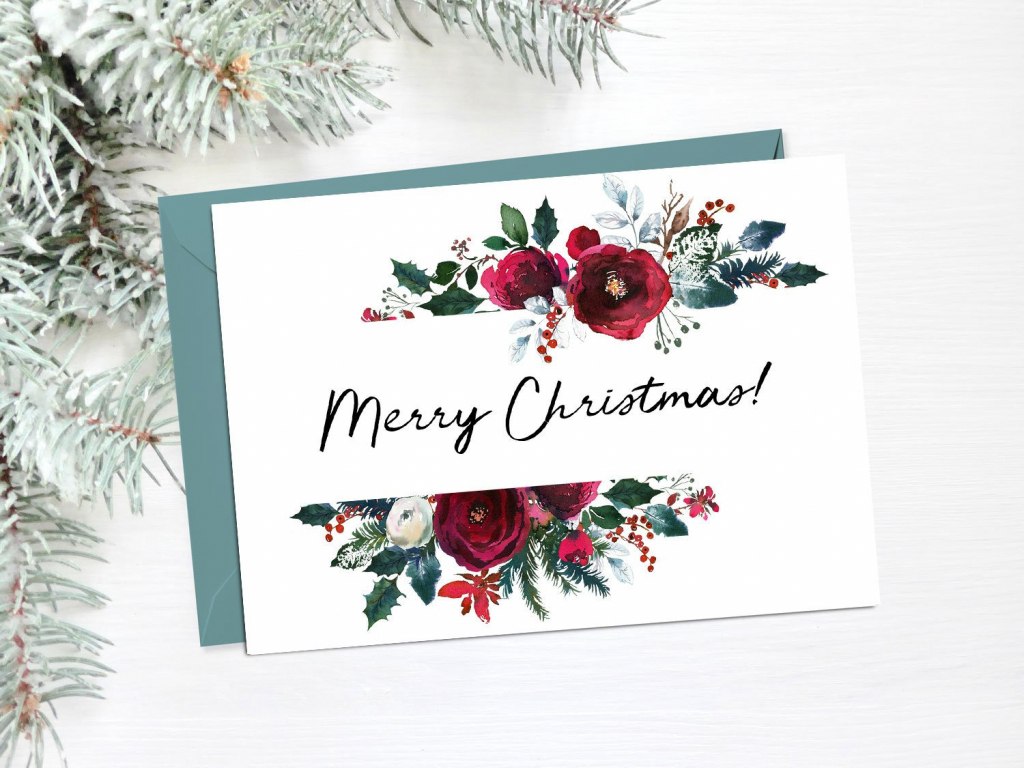 Floral Christmas Cards Printable Merry Christmas Card Happy | Etsy | Merry Christmas Cards Printable