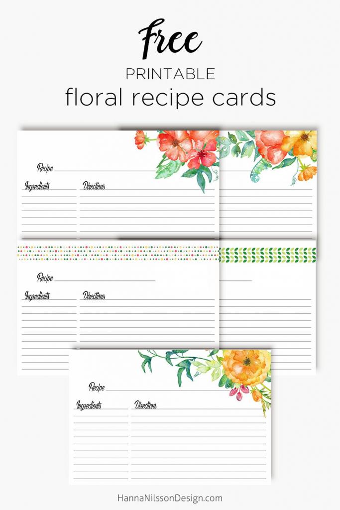 Floral Recipe Cards   Printable Love   Recipe Cards, Printable   Printable Recipe Card Template